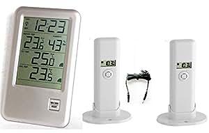 Malibu Thermomètre Plus noir TFA 30.3053.Plus.IT avec 2 émetteurs sans file (Argent)