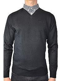 Pierre Cardin Jersei para Hombre de Punto con Cuello en V y Cuello de Camisa Falsa