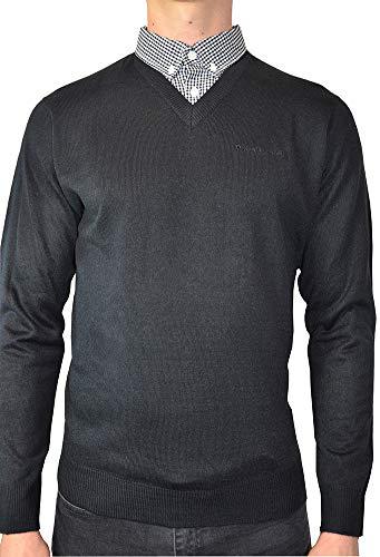 Pierre Cardin Uomo Maglione Lavorato a Maglia con Girocollo e Scollo a V con Collo a Camicia Finto (2XL, Black (Style 2))