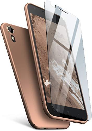 moex 360 Grad R&um-Schutz [Case + Panzerglas] für HTC Desire 10 Lifestyle | Extrem dünne Handyhülle in Golden inkl. kristallklare Schutzfolie aus Hartglas