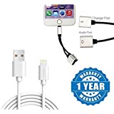 Drumstone A+ 8-Pin Lightning USB Charging And Sync Dock Connector Data Cable With 2 In 1 Dual Lightning Audio Cable + Charger Port Compatible With Apple IPhone 8, IPhone 7/ 7 Plus, IPhone 6/ 6 Plus, 5S/5C/5, IPad (One Year Warranty)