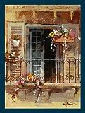 Bild mit Rahmen Willem Haenraets - Balcony IV - Digitaldruck - Holz blau, 90 x 119.7cm - Premiumqualität - Architektur, Haus, Hauswand, Balkon, Balkonblumen, Fenster, Markise, medite.. - MADE IN GERMANY - ART-GALERIE-SHOPde