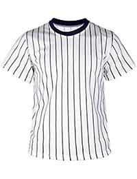 18522e8beab4c myglory77mall Camiseta de béisbol con Cuello Redondo para Hombre