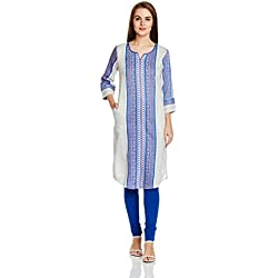 Rangriti Women's Straight Kurta (RMMBLUE MOON1302_White_36)