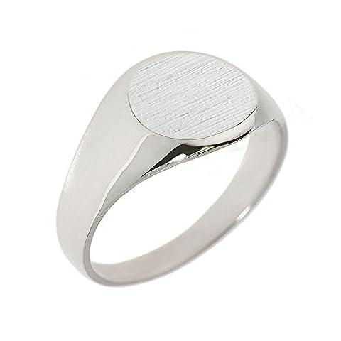 Little Treasures - 10K Solid White Gold Round Engravable Men's Signet Ring