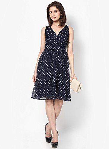 VERO MODA Damen Kleid Vmjosephine Sl Above Knee Dress Noos, Mini Blau (Black Iris AOP:SNOW WHITE DOTS)