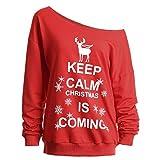 Luckycat Weihnachtspullover Schulterfrei Oberteile Damen Herbst Winter Off Shoulder Loose Fit Weihnachten Pullover Langarmshirt Sweatshirt