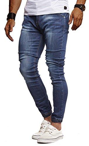 Leif Nelson Herren Jeans Hose Slim Fit Denim Blaue graue Lange Jeanshose für Männer Coole Jungen weiße Stretch Freizeithose Schwarze Cargo Chino Sommer Winter Basic LN9170 Blau W29/L32