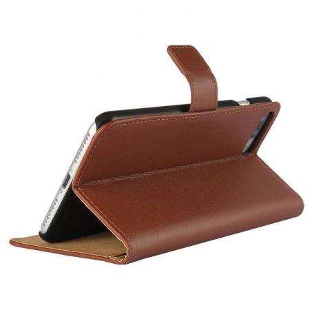 AMO® New différentes couleurs Portefeuille en cuir véritable étui livre avec support Coque pour iPhone 44G 5G 5C 66PLUS, Cuir, marron, 5c