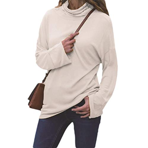 Energy Womens Long Sleeve Mock Neck Casual Blouse Pure Colour Tees Shirt White XS -