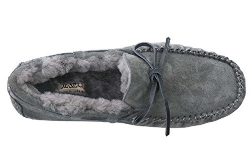 OZZEG Cuir basane flâneurs occasionnels mocassins Slip nouveaux hommes sur la conduite des chaussures Gris