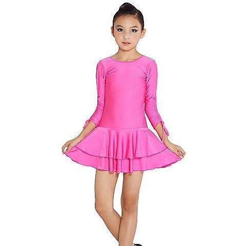 CBIN&HUA dancewear spandex manga larga vestido de baile latino para niños , fuchsia , m