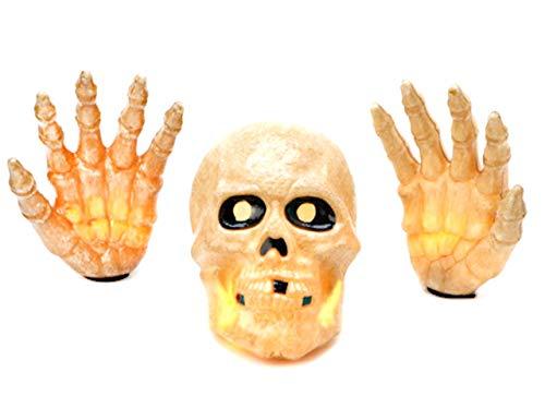 Noma Sylvania Halloween-Dekoration Beleuchtung Schädel und Hände | 3-Teiliges Set mit 20Klar Mini-Lichtern (Hexe Kostüm Händen)