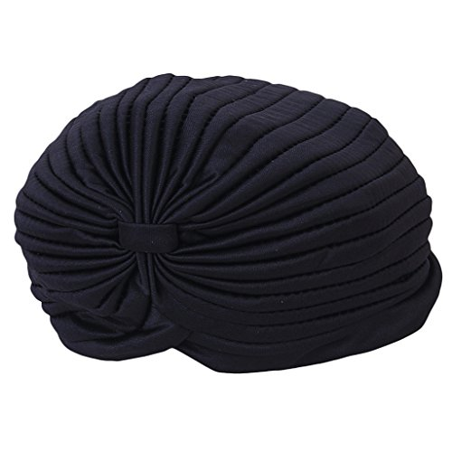 Imported Black Polyester Pleated Turban Head Wrap Headwrap Cap Twist Hat