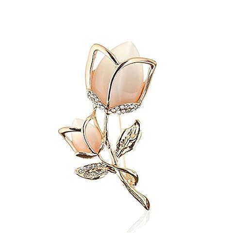 Femme Alliage Broche Diamant Pierre Oeil De Chat Version Coréenne Tulipe Haut De Gamme La Mode Banquet Robe Accessoires Exquis,Rosegold-L