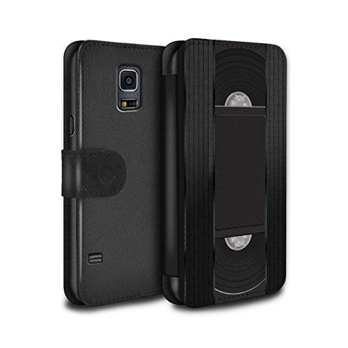 Stuff4® PU-Leder Hülle/Case/Tasche/Cover für Samsung Galaxy S5/SV/VHS-Kassette Video Muster/Retro Techik Kollektion (Galaxy S5-fall-kassette)
