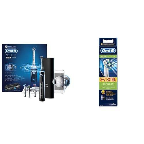 Oral-B Genius 9000 schwarz Elektrische Zahnbürste +  CrossAction Aufsteckbürsten (für elektrische Zahnbürsten), 8+2 Stück