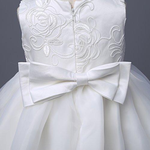 YiZYiF Baby Mädchen Taufkleid Gr. 62 68 80 86 92 Festlich Party Kleider Blumenmädchenkleid Ivory-Weiß mit Mütze Ivory 62 - 5
