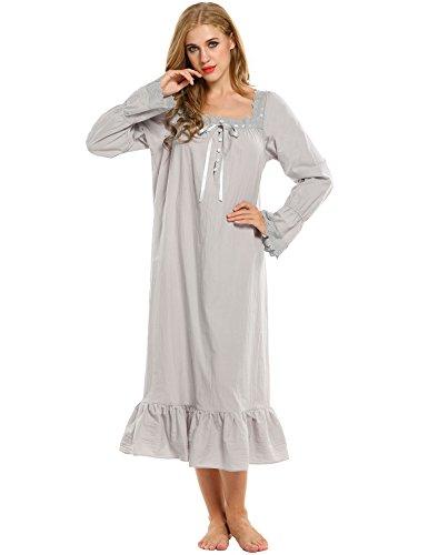 Avidlove Damen Kleid Nachthemd Schlafanzüge Nachtwäsche Negligees Langarm kurz / lang Dessous Baumwolle Reine Farbe (M, Stil 2:Lang Absatz (Grau)) (Kleid Negligee)