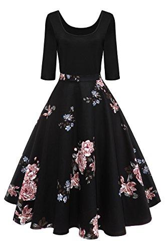 ly Kleid 50er Vintage Faltenrock Langarm Schwing Kleid Partykleid Abendkleid,Schwarz-Pfingstrose,M,DE 38 40 (Pfingstrose Kleid)