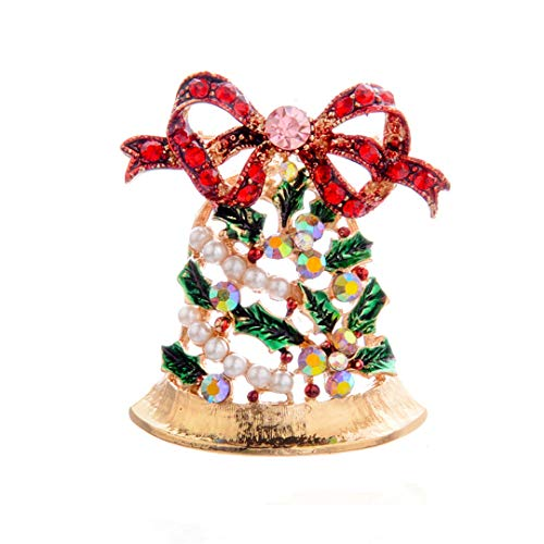 Faliya Kreative Metall Pin Abzeichen Brosche Weihnachtsbaum Strass Broschen Pins Corsage für Hemd Mantel Pullover, Glocke