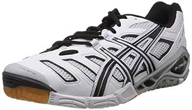 ASICS Men's GEL-SENSEI 4 White and Black Silver Mesh Tennis Shoes - 10 UK