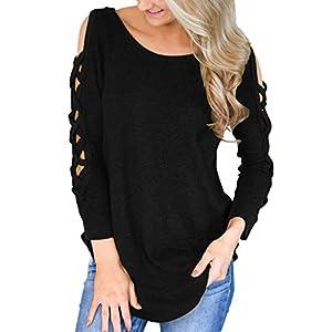 Providethebest Frauen-Mädchen-Kreuz-Weg-Schulter T-Shirts O-Ansatz Normallack-Tops
