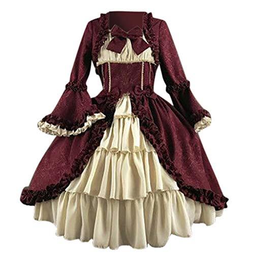 Shrek Kostüm Girl - RYTEJFES Ballkleid Mittelalter Kleid mit Trompetenärmel Party Kostüm Damen bodenlang Vintage Renaissance Costume Cosplay Gothic Court Patchwork Bow Kleid