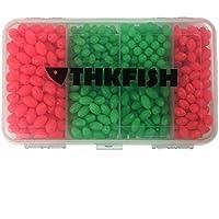 THKFISH - 1000 Cuentas de Pesca de 4 mm a 14 mm con Forma de Huevos de Pesca, Aparejos de Pesca