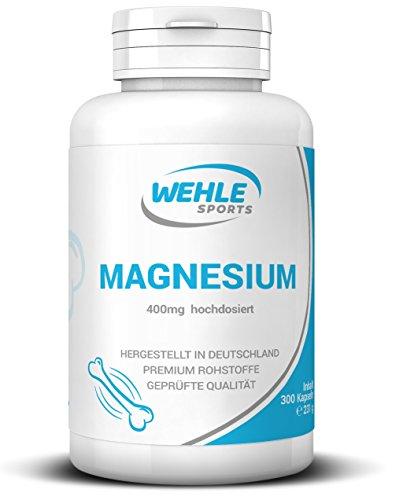 Magnesium 400 MG - 300 Kapseln (10 Monatsvorrat) - Laborgeprüft - 400 mg reines Magnesium pro Kapsel Vegan - Wehle Sports