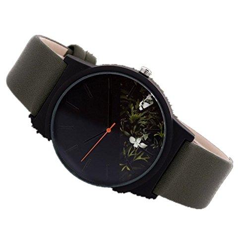Unisex Analog Uhren, Zarupeng Kunstleder Bügel Legierungs Zifferblatt Frauen-Uhr Männer-Uhr Quarz Armbanduhr Ultra-flach dünn Klassik (One Size, B)