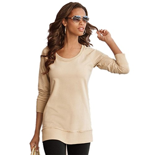 Dooxi Donna Casuale Maniche Lunghe Top T-Shirt O-Collo Colore Solido T-Shirts Tops Cachi