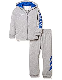 adidas Unisex Baby Linear Full Zip Hooded French Terry Trainingsanzug