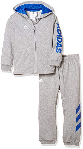 adidas Baby Linear Full Zip Hooded French Terry Trainingsanzug, Medium Grey Heather/Blue/White, 92 Terry Hooded Top