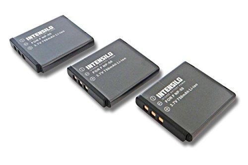 INTENSILO 3X Li-Ion Akku 750mAh (3.7V) für Kamera Camcorder Kodak Playsport Waterproof Pocket-Camcorder wie NP-50, D-Li122, GB-20.