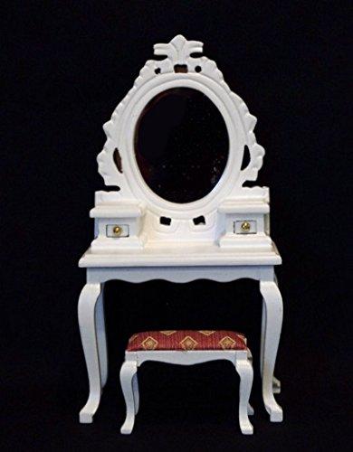 Frisiertisch mit Hocker weiss Puppenhaus Möbel Schlafzimmer Miniatur 1:12