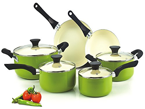 Cook N Home NC-00358 Nonstick Ceramic Coating 10-Piece Cookware Set, Green