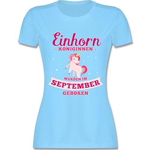 Geburtstag - Einhorn Königinnen Wurden IM September Geboren - Damen T-Shirt  Rundhals Hellblau