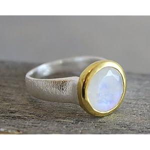 Mondstein Mixed Metall vergoldet Sterling Silber Ring Größe US Size 9 / Diameter 19