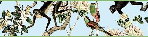 3er Set GMM - selbstklebende Tapeten Borte, Bordüre Dschungel Tapetenborten mit Affen und Papageien, 3x5m Dschungel Eleganz für Wohnakzente