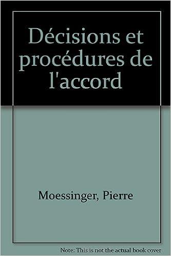 Livre gratuits Décisions et procédures de l'accord epub pdf