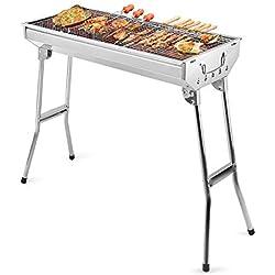 Uten Barbecue à Charbon en Acier Inoxydable Pliable Portable pour la Cuisine en Plein air, Le Camping, la randonnée, Les Pique-niques - Argenté