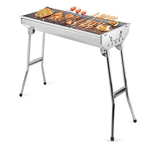 Uten Stainless Steel BBQ Charcoal Grill Smoker Barbecue Folding Portable for Outdoor Cooking Camping Hiking Picnics Backpacking Large, Silver