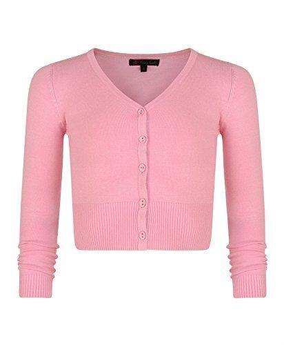 Mädchen Langärmelig Bauchfreie Strickjacke Kinder V-ausschnitt Feinstrick Pullover Top - Synthetisch, Rosa, 20% nylon 80% viskose, Mädchen, 110-116/5-6 Jahre