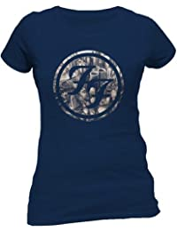 Official Foo Fighters - City circle - Ladies Skinny Navy T Shirt (Extra Large)