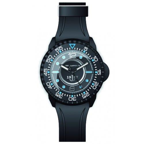 Ted Lapidus 5123201 - Reloj analógico de cuarzo para hombre con correa de caucho, color negro