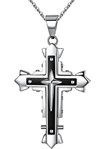 Ostan - Men's Jewelry 316L Stainless Steel Gothic Pendant Necklace - Silver