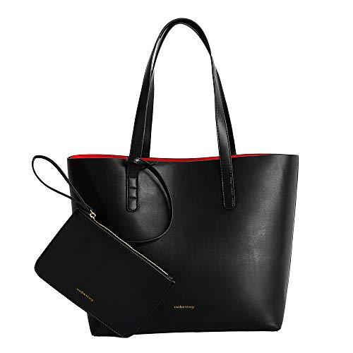 imbettuy handtaschen damen PU Leder Geldbörse damen tote Umhängetaschen Hobos Schultertaschen Big Bags (Schwarz)