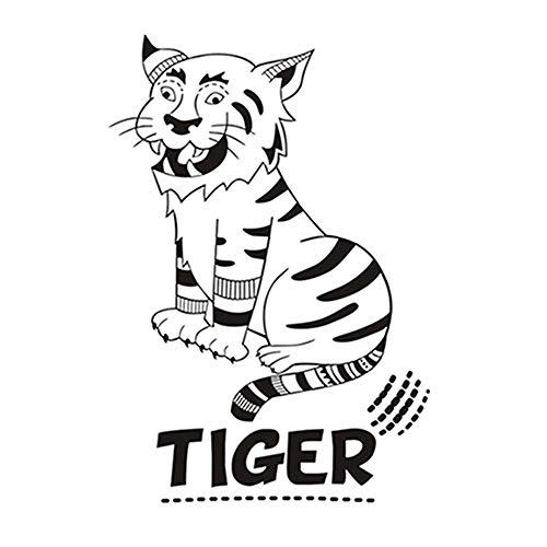 Hocken Cartoon Tiger DIY Wandaufkleber Für Kinderzimmer Dekoration Tier Vinyl Abnehmbare Wandkunst Aufkleber Tapete Wohnkultur a9 59 * 40 cm (Tiger Dekorationen Daniel)