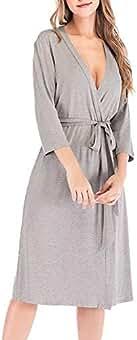Mujer Pijamas Kimono Color Sólido Manga Larga Cuello V Elegante Batas